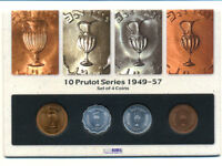 ISRAEL 4 COIN SET:10 PRUTOT SERIES 1949 57   ALL DIFFERENT   UNC   GREAT GIFT