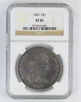EXTRA FINE 45 1802 DRAPED BUST SILVER DOLLAR - NGC GRADED 2800