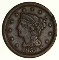 1857 BRAIDED HAIR LARGE CENT - CIRCULATED 6201
