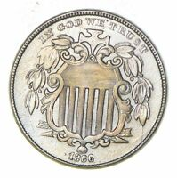 1866 SHIELD NICKEL - WITH RAYS - NEAR UNCIRCULATED 6016
