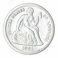 1861-S SEATED LIBERTY SILVER DIME - CIRCULATED 6033