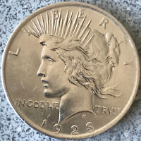 1923 PEACE 90 SILVER DOLLAR SHIPS FREE USA  AU GREAT DETAIL