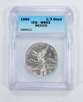 MINT STATE 63 1996 MEXICO .999 SILVER 1/2 ONZA - ICG GRADED 5935