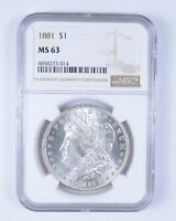 MINT STATE 63 1881 MORGAN SILVER DOLLAR - NGC GRADED 6096