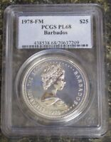 1978-FM BARBADOS $25 SILVER CORONATION JUBILEE UNC PCGS PL68 ONLY 69 MINTED