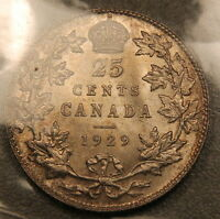 1929 CANADA 25 CENTS ICCS MS 64 NEAR GEM UNCIRCULATED LUSTROUS BEAUTY