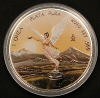 2010 FULLY COLORIZED  1 OZ MEXICO LIBERTAD ANGEL .999 SILVER  COLORED COIN