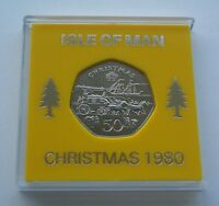 UNC 1980 ISLE OF MAN CHRISTMAS 50P COIN   STEAM PACKET.