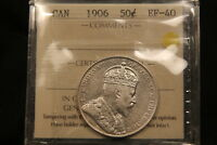 1906 CANADA SILVER 50 CENTS. ICCS EF40. KING EDWARD VII TOUGHER DATE. BV $450
