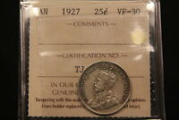 1927 CANADA SILVER 25 CENTS. ICCS VF 30. TOUGHER DATE. BV $235