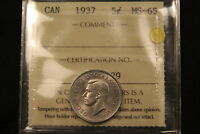 1937 CANADA 5 CENTS NICKEL. MS 65 ICCS. BV $225