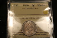1940 CANADA 5 CENTS NICKEL. MS 64 ICCS. BV $150.