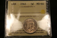 1941 CANADA 5 CENTS NICKEL. ICCS MS 64. BV $250