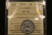1953 MULE SF FL. CANADA 5 CENTS ICCS VF20.  TYPE. BV $175