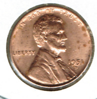 1951-D DENVER UNCIRCULATED CIRCULATION STRIKE COPPER ONE CENT COIN