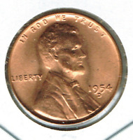 1954-D DENVER UNCIRCULATED CIRCULATION STRIKE COPPER ONE CENT COIN