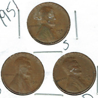 1951-DPS CIRCULATED CIRCULATION STRIKE COPPER ONE CENT COINS