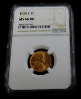 1955-S LINCOLN CENT NGC MINT STATE 66 RD