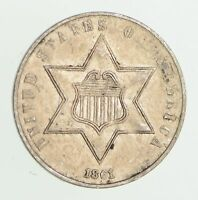 1861 SILVER THREE-CENT PIECE - CIRCULATED 7490