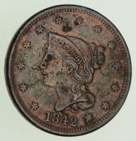 1842 BRAIDED HAIR LARGE CENT - CIRCULATED 8135
