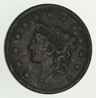 1837 YOUNG HEAD LARGE CENT - CIRCULATED 9519