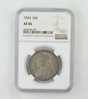 EXTRA FINE 45 1834 CAPPED BUST HALF DOLLAR - NGC GRADED 0222