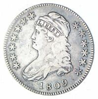 1809 CAPPED BUST HALF DOLLAR - |||| EDGE - CIRCULATED 7037