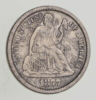 1877-CC SEATED LIBERTY SILVER DIME - CIRCULATED 7196