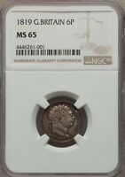 ENGLAND GEORGE III  1819  SIXPENCE  SILVER COIN, UNCIRCULATED CERTIFIED NGC MINT STATE 65