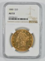 AU53 1880 $20.00 LIBERTY HEAD GOLD DOUBLE EAGLE - GRADED BY NGC 7348