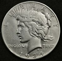 1934-S PEACE SILVER DOLLAR.  HIGH GRADE DETAIL.  130242