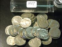 1927 ROLL BUFFALO NICKELS WITH 2 TO 4 DIGIT DATES ALL 1927 SOLID DATE ROLL