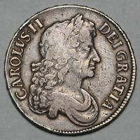 1673 KING CHARLES II GREAT BRITAIN SILVER CROWN COIN