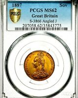 1887 QUEEN VICTORIA GREAT BRITAIN GOLD SOVEREIGN PCGS MS62