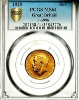 1925 KING GEORGE V GREAT BRITAIN GOLD SOVEREIGN PCGS MS64