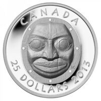 2013 CANADA $25 PURE SILVER GRANDMOTHER MOON MASK PROOF. COA CASE & BOX. NO TAX
