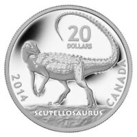 2014 $20 CANADA SILVER DINOSAURS: SCUTELLOSAURUS PROOF COIN COA CASE BOX. NO TAX