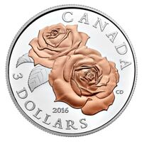 2016 $3 CANADA QUEEN ELIZABETH ROSE. PINK GOLD PLATING .999 SILVER COIN   NO TAX
