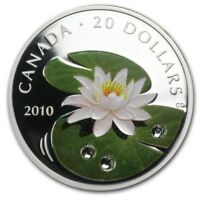 2010 $20 FINE SILVER 1 OZ WATER LILY CRYSTAL COLORIZED COIN. COA CASE BOX NO TAX