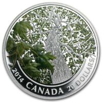 2014 $20 1 OZ .9999 SILVER MAPLE CANOPY   SPRING SPLENDOR. CASE COA BOX. NO TAX