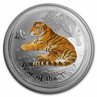 2010 COLORIZED TIGER FULL 1 OZ SILVER PERTH MINT AUSTRALIA $1 LUNAR SERIES II