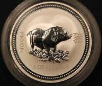 2007 LUNAR SERIES I   YEAR OF THE PIG   2 OZ SILVER AUSTRALIA PERTH MINT.