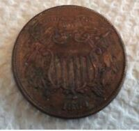 1864 TWO CENT PIECE  SMALL MOTTO  AU DETAILS  FULL WE  MAKE OFFER