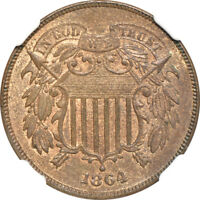 1864 LARGE MOTTO TWO CENT PIECE MS / MINT STATE 65 RB, NGC 2C C3116