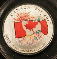1867 2017 CANADA $3 FINE SILVER COLORIZED CANADIAN FLAG FIREWORDS COIN
