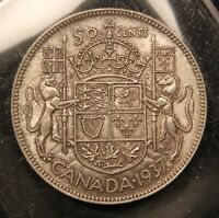 1937 CANADA SILVER 50 CENTS. AU  NEAR MINT CONDITION. LOW MINTAGE YEAR