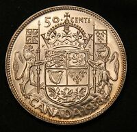 1938 CANADA SILVER 50 CENTS. LUSTROUS UNC  HIGH GRADE KEY DATE LOW MINTAGE COIN.