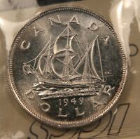 1949 CANADA SILVER SHIP DOLLAR ICCS MS 64 NEAR GEM UNC. BLAST WHITE.
