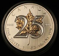 2013 CANADA 1 OZ PURE SILVER MAPLE LEAF SELECTIVELY GOLD GILDED 25TH ANNIVERSARY