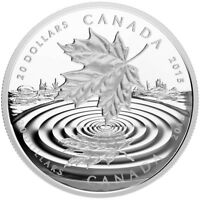 2015 $20 1 OZ FINE SILVER MAPLE LEAF REFLECTION. PROOF COIN W CASE & COA. NO TAX